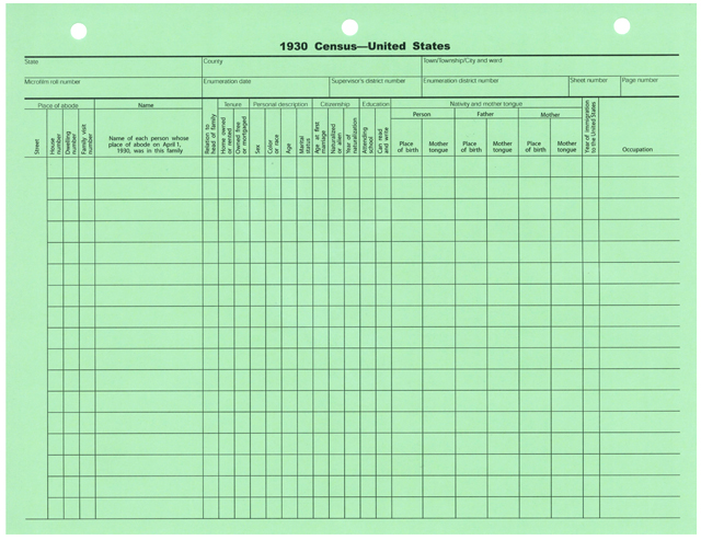 Census Form 1930 U S on coil binding supplies
